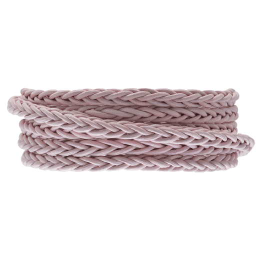 DQ Gevlochten Leer Regular (4 mm) Soft Pink (1 Meter)