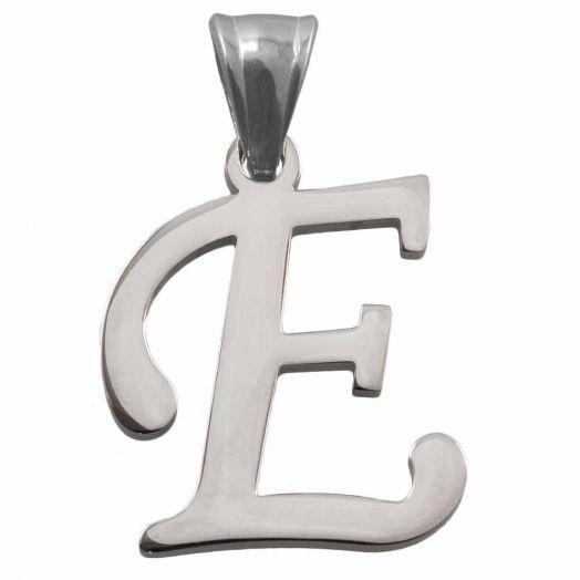 Stainless Steel Initiaal Hangers E (32 mm) Antiek Zilver (1 Stuks)
