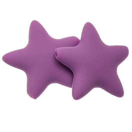Siliconen Kralen Ster (36 mm) Wisteria Purple (2 Stuks)
