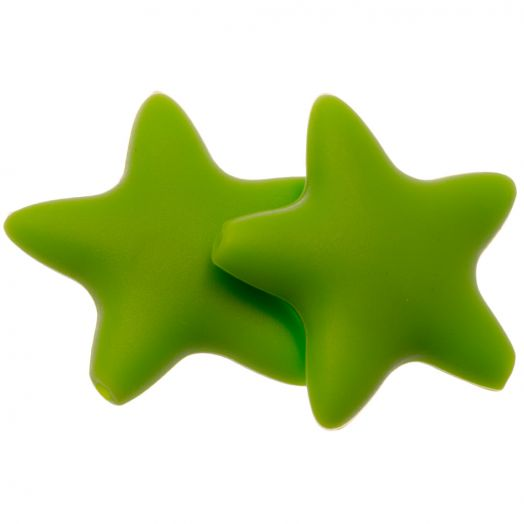 Siliconen Kralen Ster (36 mm) Clear Green (2 Stuks)