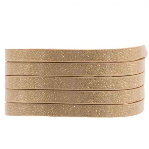 Plat Koord (5 x 2 mm) Shimmer Glitter Beige (1 Meter)