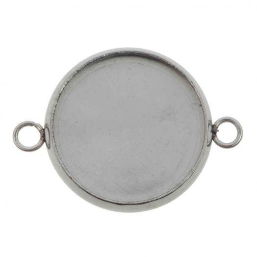 Stainless Steel Setting 2 Ogen (14 mm) Antiek Zilver (10 Stuks)