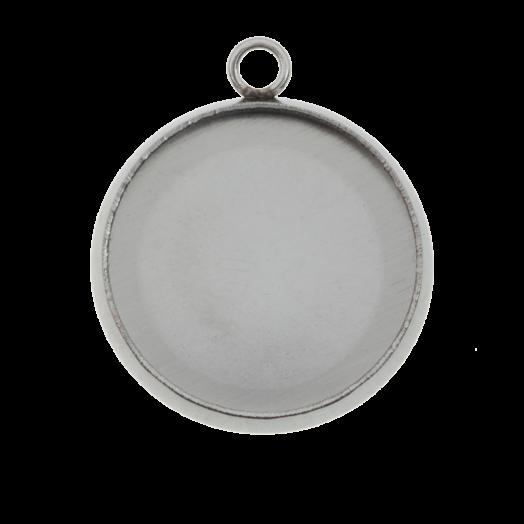 Stainless Steel Setting 1 Oog (12 mm) Antiek Zilver (10 Stuks)