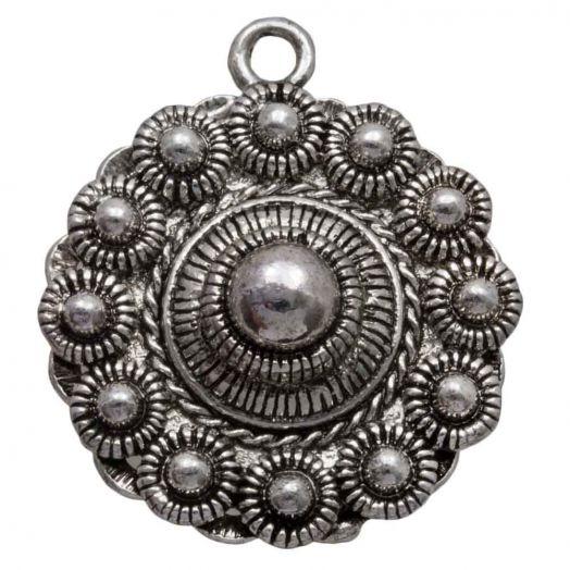 Zeeuwse Knop Hanger (30 mm) Antiek Zilver (2 stuks) Binnenmaat oogje 2 mm