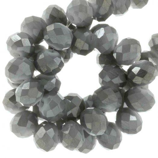 Electroplated Facetkralen (8 x 6 mm) Steel Pebble (65 Stuks)