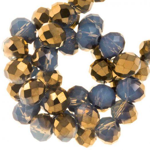 Electroplated Facetkralen Rondell (6 x 5 mm) Gold Blue  (95 Stuks)