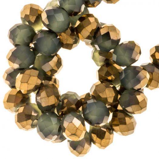 Electroplated Facetkralen Rondell (6 x 5 mm) Gold Green Sage (95 Stuks)