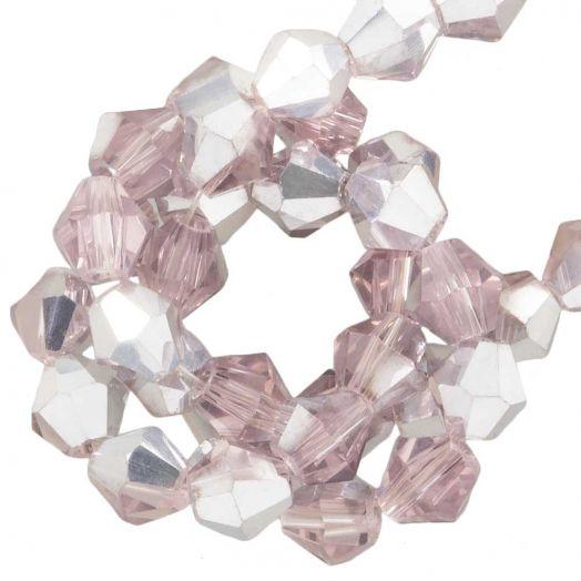 Facetkralen Bicone (4 mm) Pink Silver Shine (110 Stuks)