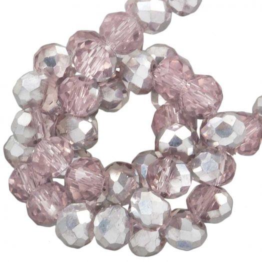 Facetkralen Rondell (2 x 3 mm) Pink Silver Shine (150 Stuks)