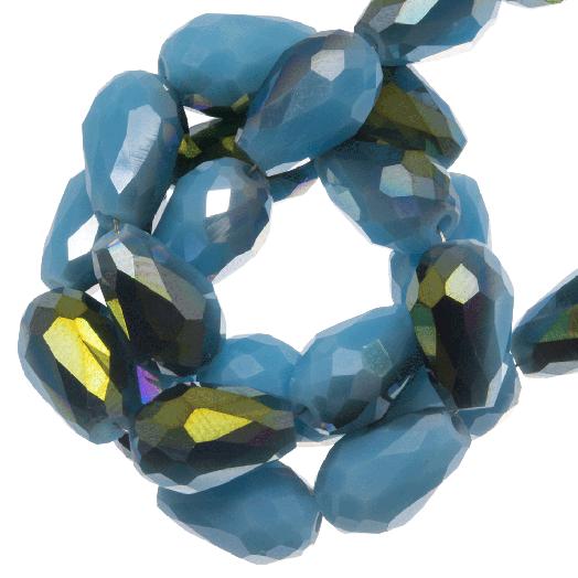 Facetkralen Druppel (5 x 7 mm) Blue Shine (70 Stuks)