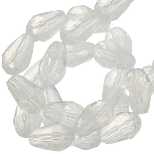 Facetkralen Druppel (5 x 7 mm) White Shine (70 Stuks)