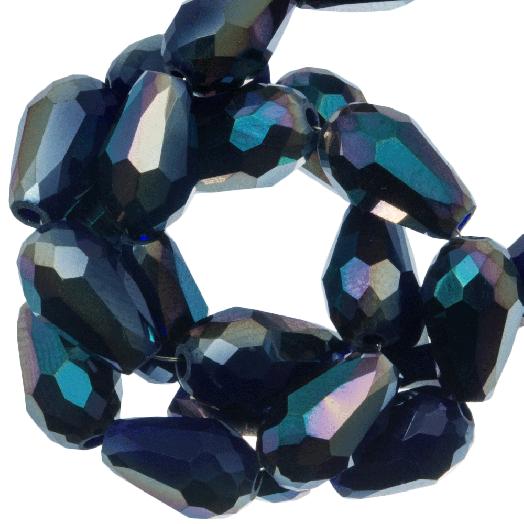Facetkralen Druppel (5 x 7 mm) Dark Blue Shine (70 Stuks)