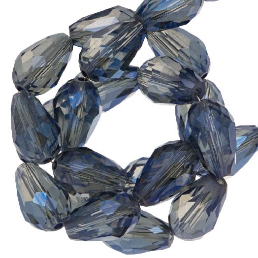 Facetkralen Druppel (8 x 11 mm) Transparent Blue Shine (60 Stuks)