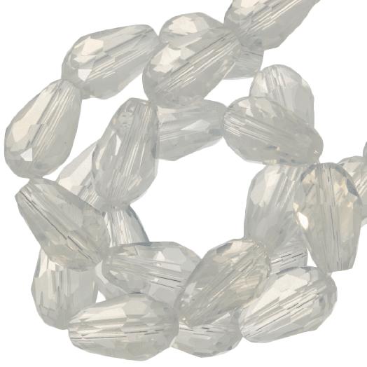 Facetkralen Druppel (8 x 11 mm) White Shine (60 Stuks)