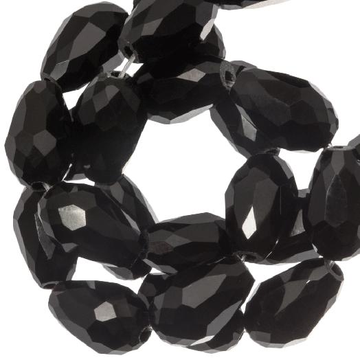 Facetkralen Druppel (8 x 11 mm) Black Shine (60 Stuks)