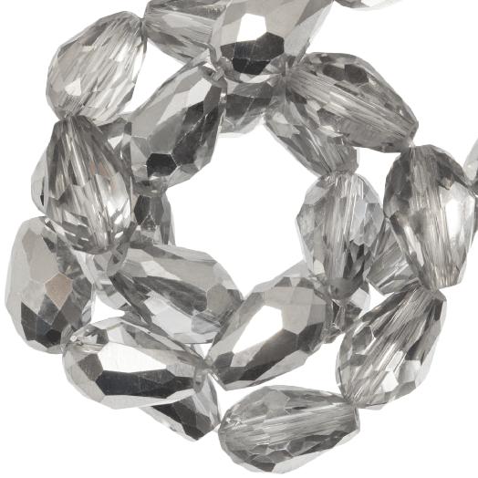 Facetkralen Druppel (8 x 11 mm) Silver Shine (60 Stuks)
