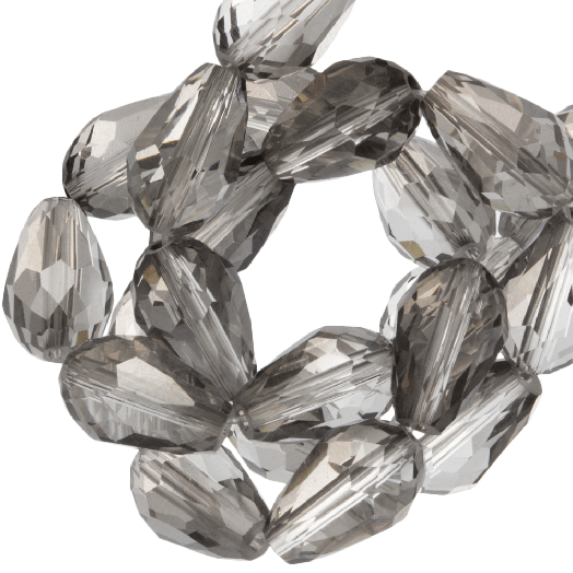 Facetkralen Druppel (5 x 7 mm) Transparent Grey Shine (70 Stuks)