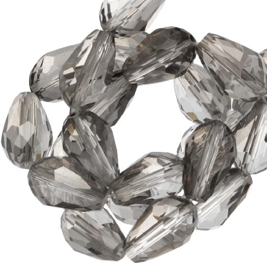 Facetkralen Druppel (8 x 11 mm) Transparent Grey Shine (60 Stuks)