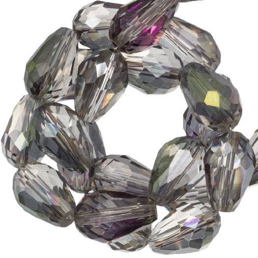 Facetkralen Druppel (8 x 11 mm) Transparent Grey Rainbow Shine (60 Stuks)
