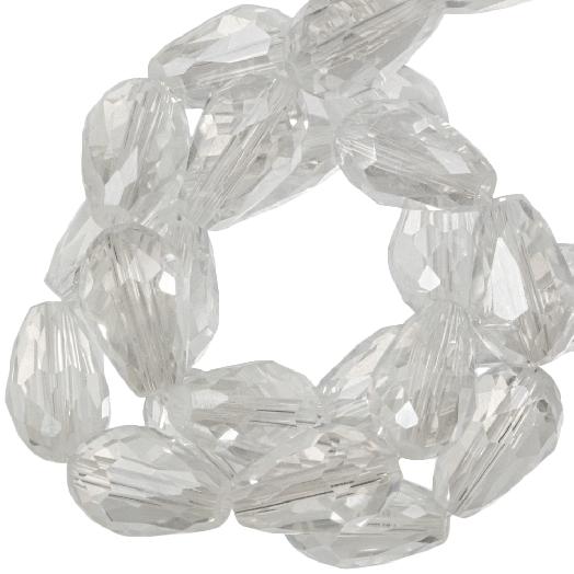 Facetkralen Druppel (8 x 11 mm) Transparent White Shine (60 Stuks)