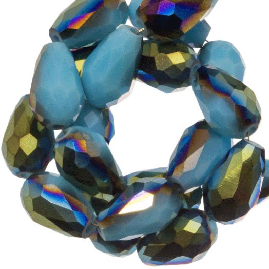 Facetkralen Druppel (8 x 11 mm) Blue Shine (60 Stuks)