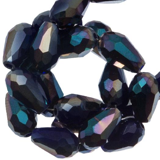 Facetkralen Druppel (8 x 11 mm) Dark Blue Shine (60 Stuks)
