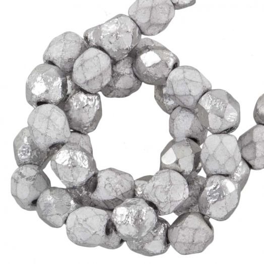 DQ Fire Polished Kralen (Silver) 4 mm (50 Stuks)