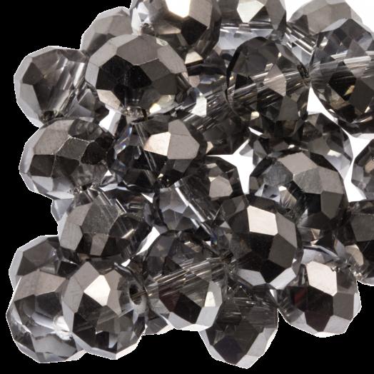 Facetkralen Rondell (8 x 6 mm) Transparent Silver Grey Shine (72 Stuks)