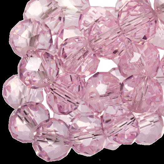 Facetkralen Rondell (2 x 3 mm) Transparent Light Pink (150 Stuks)