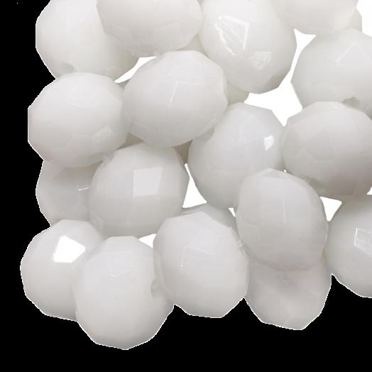 Facetkralen Rondell (8 x 6 mm) White (72 Stuks)