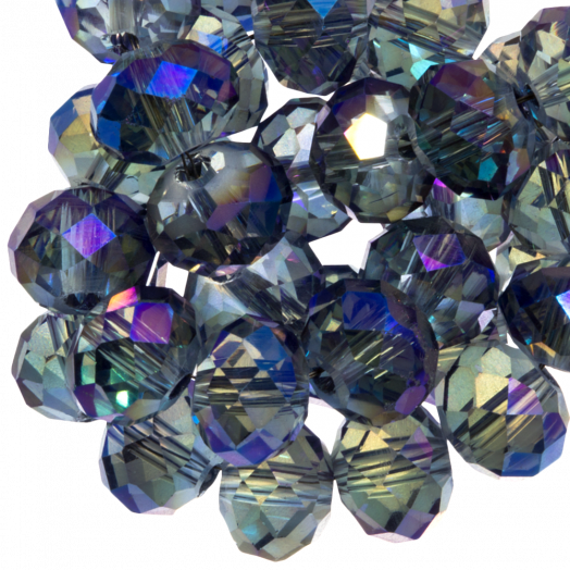 Facetkralen Rondell (3 x 4 mm) Transparent Grey Blue Shine (147 Stuks)