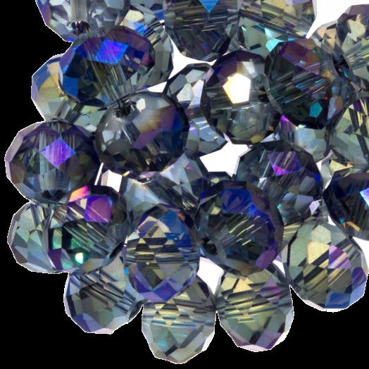 Facetkralen Rondell (2 x 3 mm) Transparent Grey Blue Shine (150 Stuks)