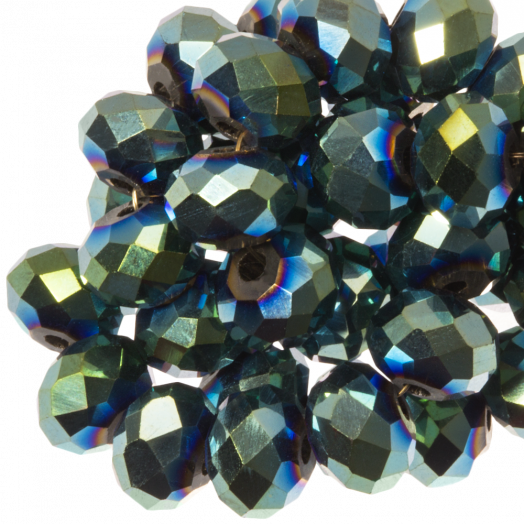 Facetkralen Rondell (3 x 4 mm) Green Shine (147 Stuks)