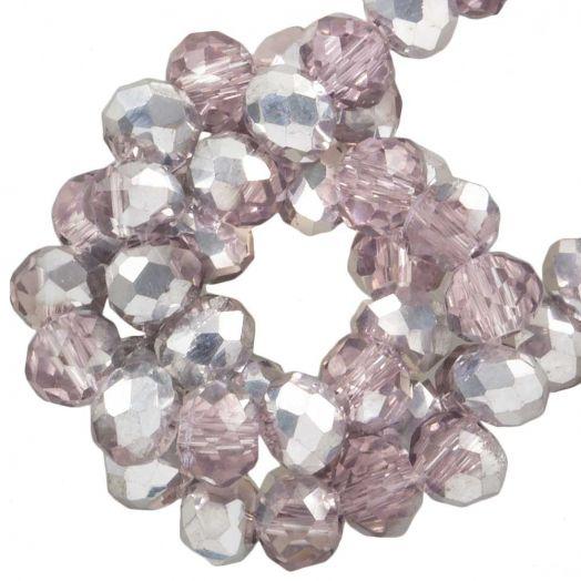 Facetkralen Rondell (3 x 4 mm) Pink Silver Shine (147 Stuks)