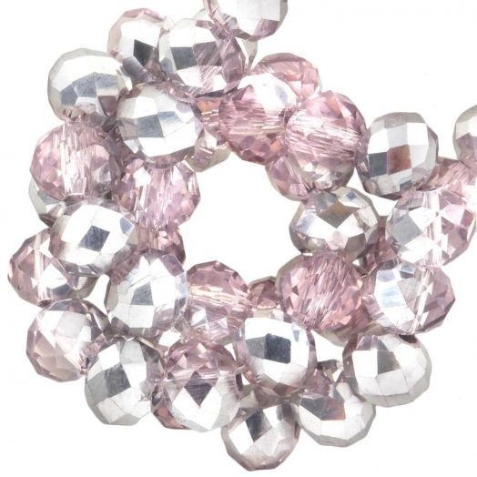 Facetkralen Rondell (6 x 4 mm) Pink Silver Shine (95 Stuks)