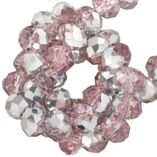 Facetkralen Rondell (8 x 6 mm) Pink Silver Shine (72 Stuks)