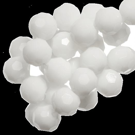 Facetkralen Rond (8 mm) White (72 Stuks)
