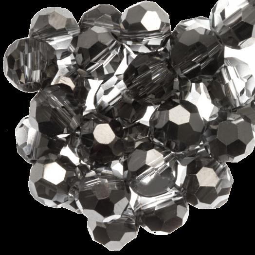 Facetkralen Rond (6 mm) Transparent Silver Grey Shine (100 Stuks)