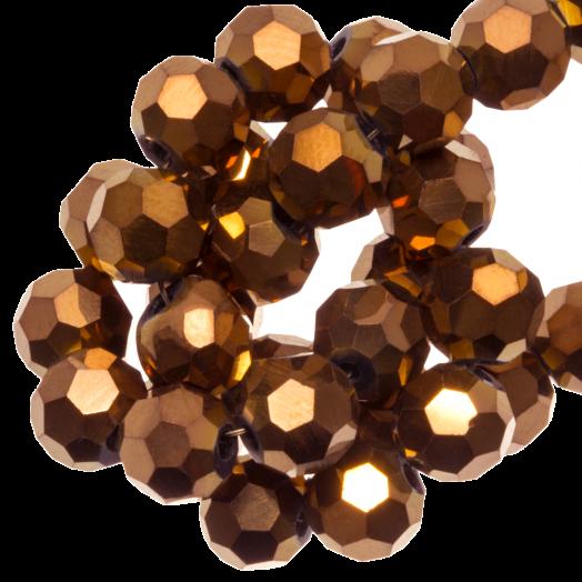 Facetkralen Rond (8 mm) Copper Shine (72 Stuks)