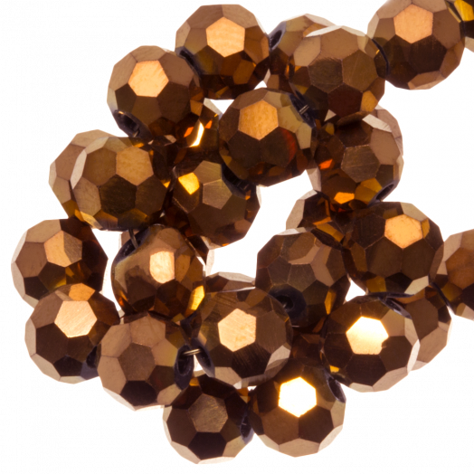 Facetkralen Rond (6 mm) Copper Shine (100 Stuks)
