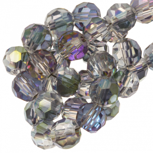 Facetkralen Rond (8 mm) Transparent lilac grey Shine (72 Stuks)