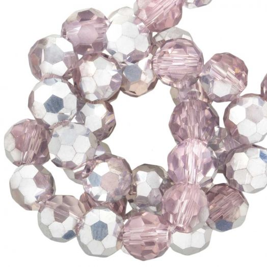 Facetkralen Rond (6 mm) Pink Silver Shine (100 Stuks)