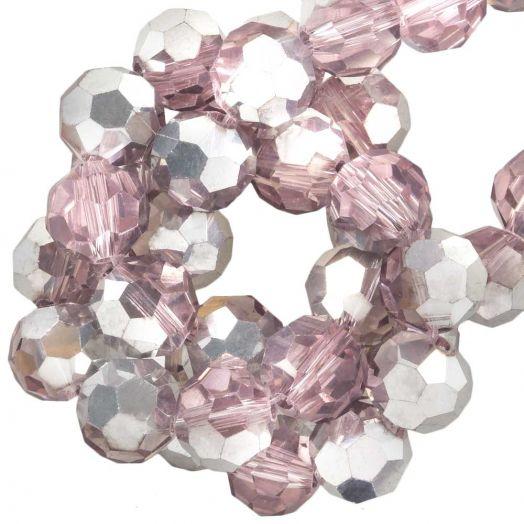 Facetkralen Rond (8 mm) Pink Silver Shine (72 Stuks)
