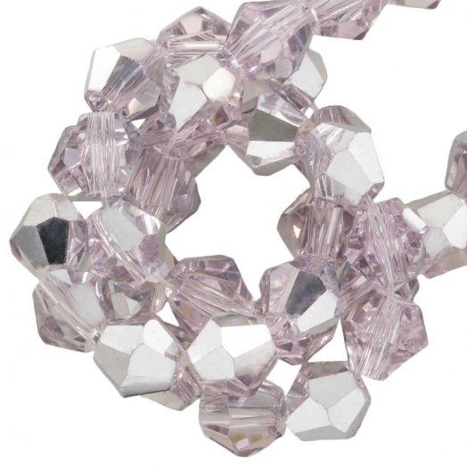 Facetkralen Bicone (6 mm) Pink Silver Shine (50 Stuks)