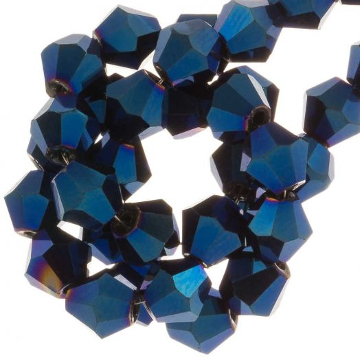 Facetkralen Bicone (6 mm) Blue Shine (50 Stuks)
