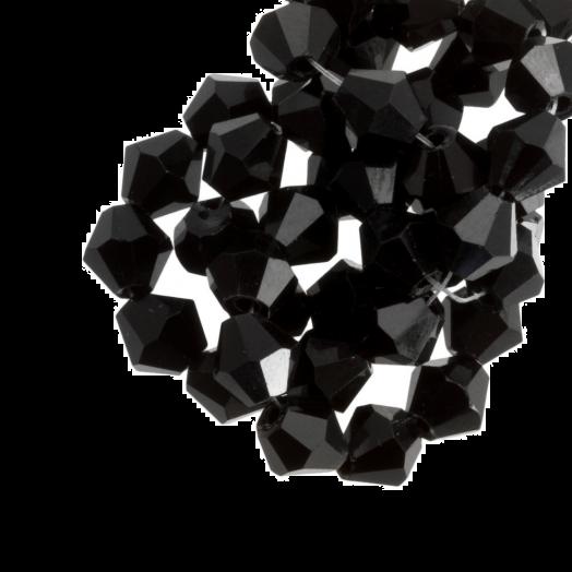 DQ Facetkralen Bicone (6 mm) Black (25 Stuks)