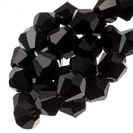Facetkralen Bicone (4 mm) Black (110 Stuks)