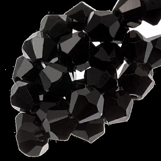 Facetkralen Bicone (6 mm) Black (50 Stuks)