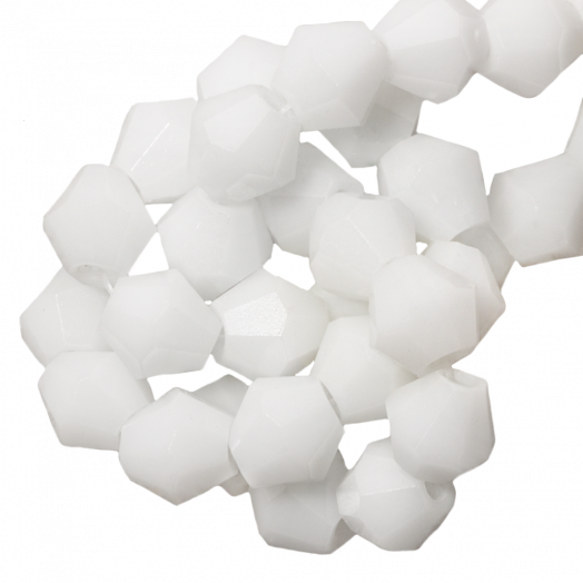 Facetkralen Bicone (4 mm) White (110 Stuks)