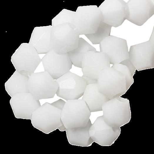 Facetkralen Bicone (6 mm) White (50 Stuks)